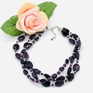 Triple Stranded Purple Beaded Sleek Necklace